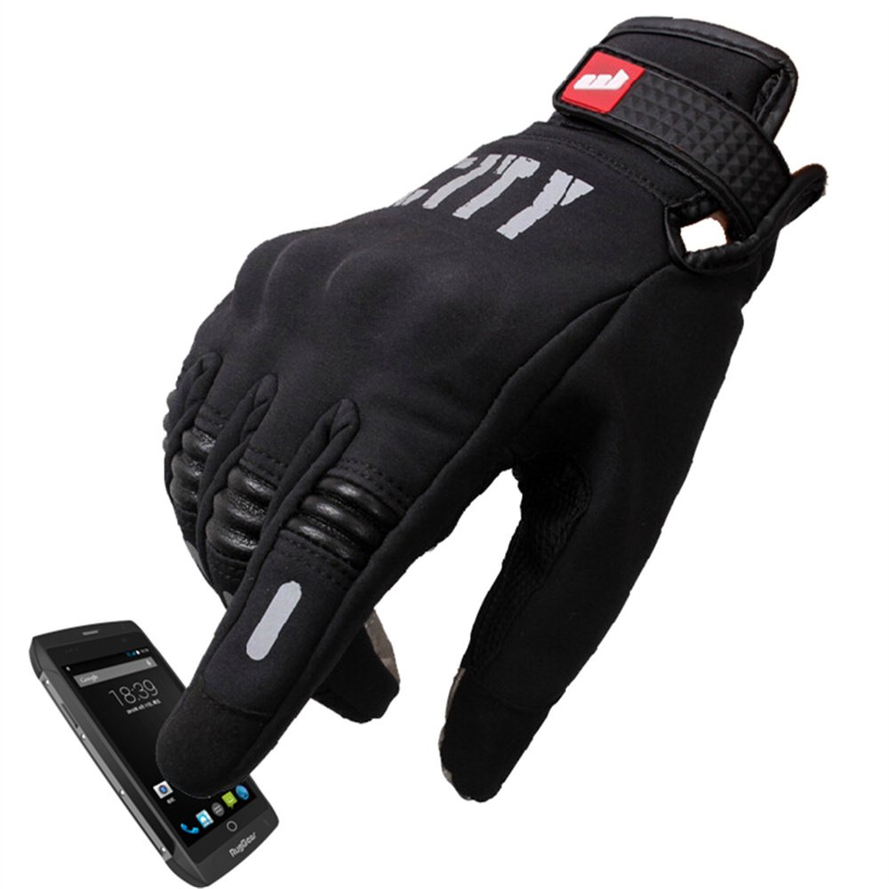 Madbike Stealth Hard Knuckle Motorcycle Gloves Touch Screen Motorbike Powersports Racing Tactical Paintball Black (XL)