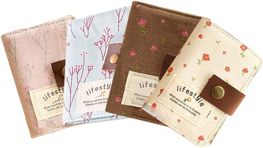 4 PCS 20 Pockets Retro Portable Canvas Floral Girly Name/Business / Credit Card Holder Instant Pictures Photo Album Sets for Instax Mini 70 7S 8 25 50S 90 Films