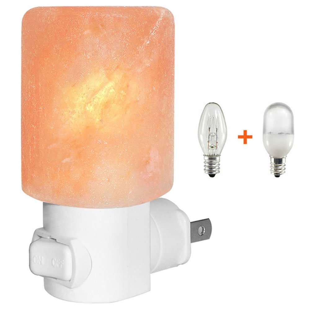 Venhoo Mini Hand Carved Himalayan Salt Lamp Natural Crystal Salt Rock Nursery Wall Night Light Plug In Nightlight with Incandescent Bulb and Multi LED Color Changing Bulb for Kids Bedroom Bathroom