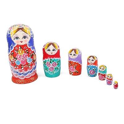 7pcs Muñecas Anidación Rusas Matrioska Madera Flor Pintada: Juguetes y juegos