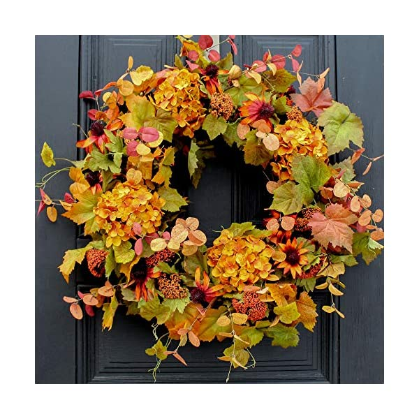 Darby Creek Trading Golden Hydrangea with Autumn Cone Flower & Leaves Front Door Fall Wreath