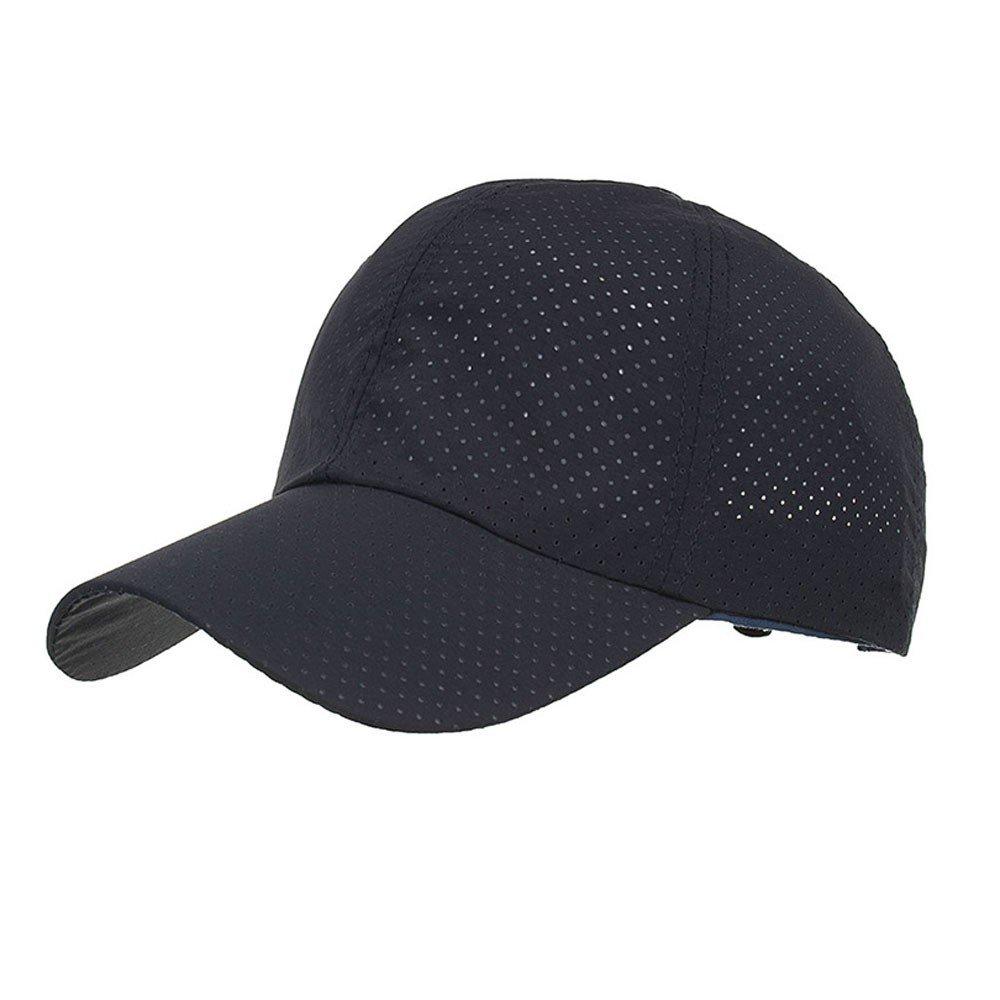 Unisex Fashion Golf Cap Adjustable Summer Solid Hat Ventilation Baseball Hats Breathable Lightweight Mesh Cap (Navy)