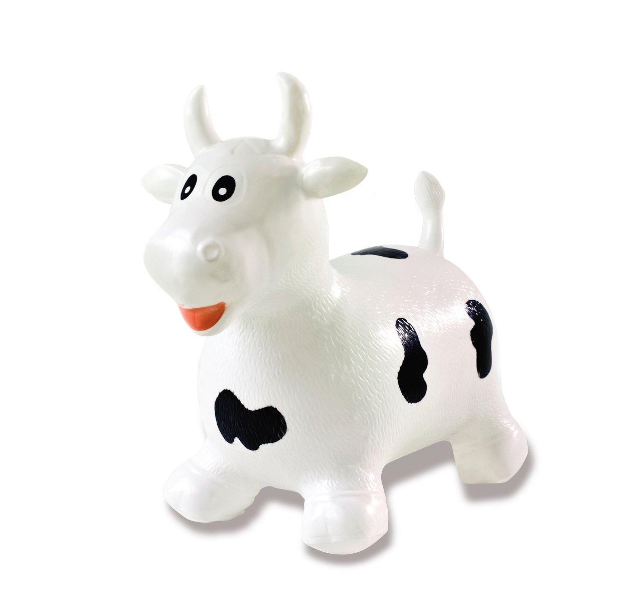 Jamara 460318 - Toro animal saltarín blanco/negro con bomba - Orejas como soporte