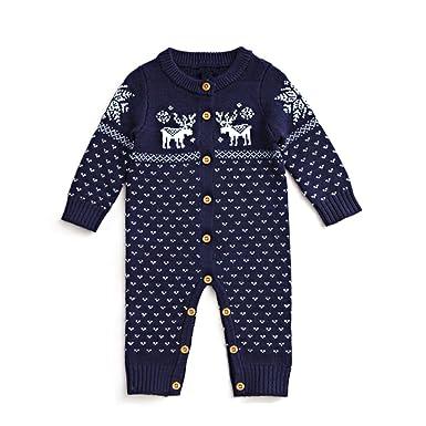 70da757d8 Amazon.com  Unisex Baby Boys Girls Christmas Sweater Rompers ...