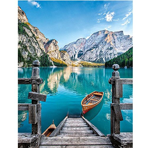 FORESTIME 5D Diamond Painting by Number Kit, Landscape Print DIY Diamond Embroidery Painting Cross Stitch Kit 5D Diamond Crystal Rhinestone Embroidery Painting DIY Art Craft Canvas Wall Decor ()