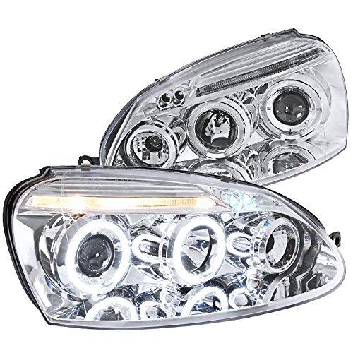 Spec-D Tuning LHP-GLF05-TM Volkswagen Golf Rabbit Jetta Clear Chrome Halo Led Projector Head ()