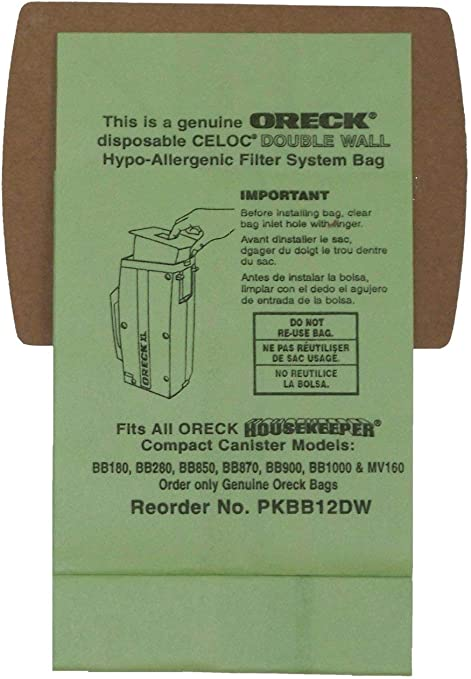 Pack of 12 Oreck Commercial PKBB12DW Super Compact Canister Advanced Filtration Disposable Bags