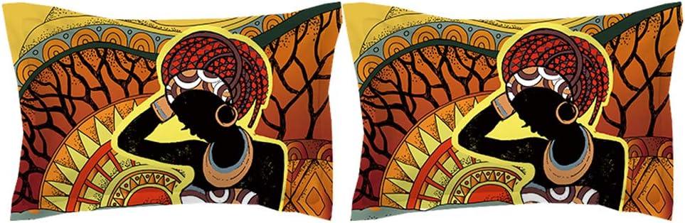 HIMFL Set copripiumini con Chiusura a Cerniera 3D Donna Africana Modello Set di Biancheria da Letto per Ragazzi Bambini Adulto King