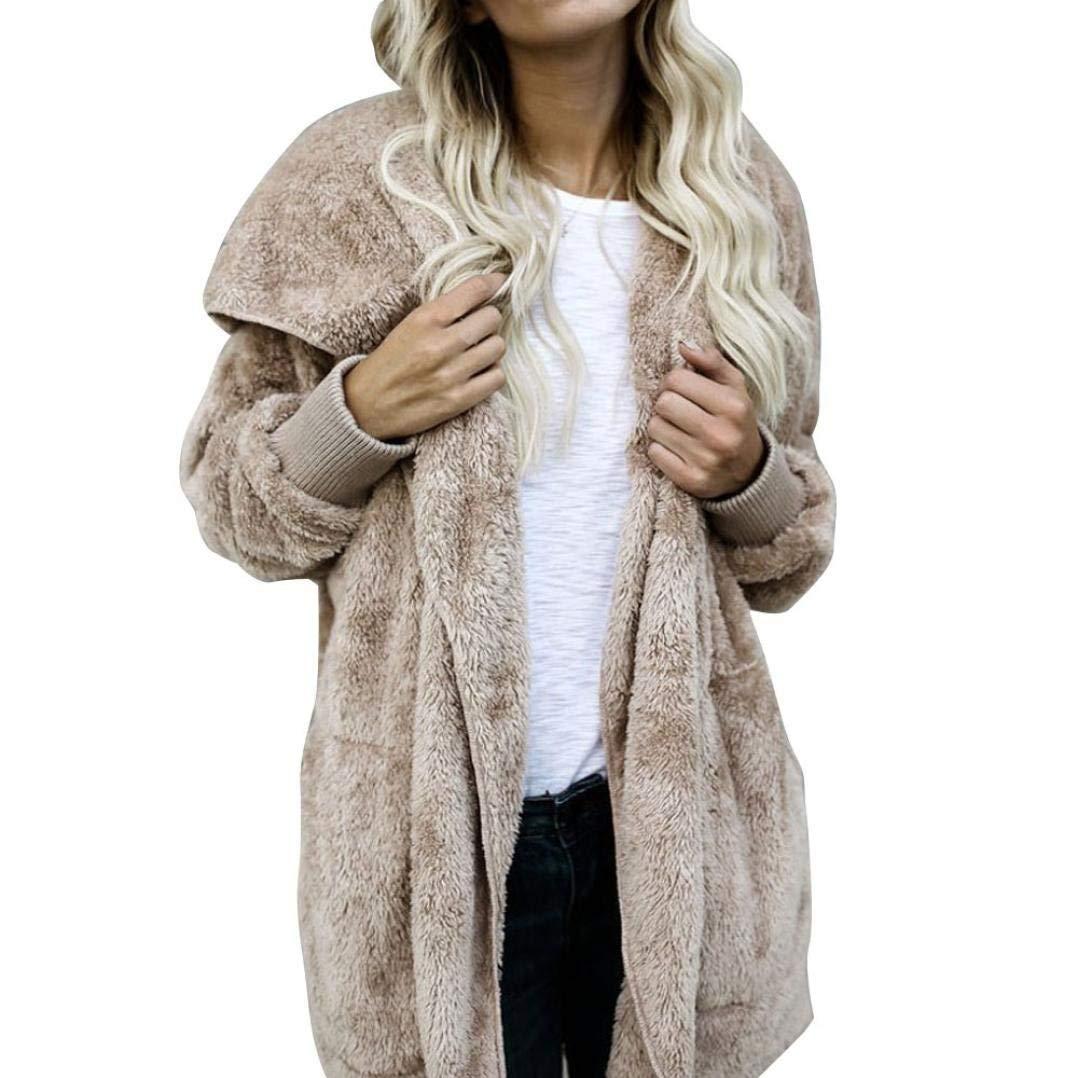 Khaki, S Transer Womens Winter Long Sleeve Soft Fluffy Hooded Cardigan Fleece Coat Hoodies Parka Outerwear
