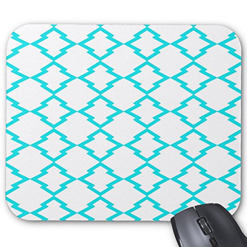 X7 Arrows (Geometric Pattern Lattice Grid Checks Turquoise and White Rectangle Mousepad Design Gaming Mouse Pad Laptop)