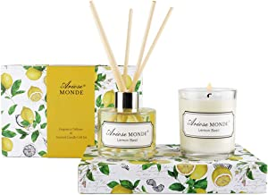 FragranceDiffuser&ScentedCandle Gift Set with Sticks for Home, Lemon Basil Aromatherapy Scented Oil Reed Diffuser Long Lasting Soy Candle in Glass Jar,Natural Soy Candles Gifts for Women & Men