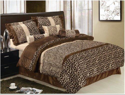 7 Piece Safari Comforter Set Zebra Giraffe Bed In A Bag