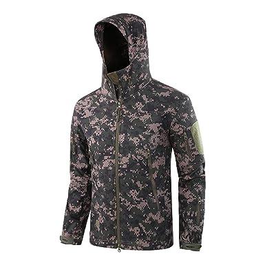 1f014cb1540a7 BingYELH Men's Outdoor Waterproof Jacket,Soft Shell Hooded Camouflage Sports  Coat