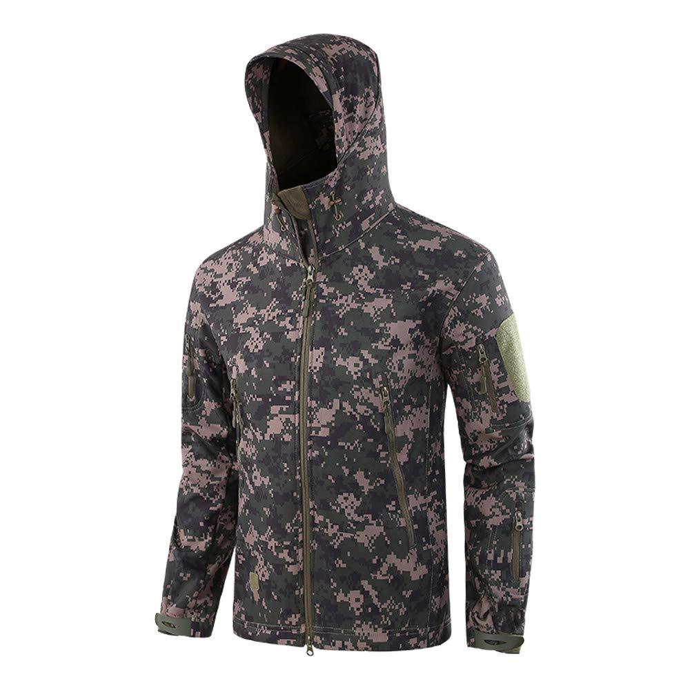 Mnyycxen Men's Windproof Warm Outdoor Coat Hooded Jacket Sports Uniform Velvet Overalls Camouflage Workwear (L2, Army Green)