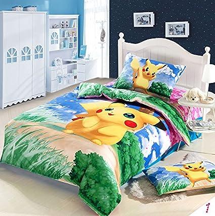 LuK aceite de Anime japonés Pokemon dibujos animados Juego de cama, diseño de Pikachu niños