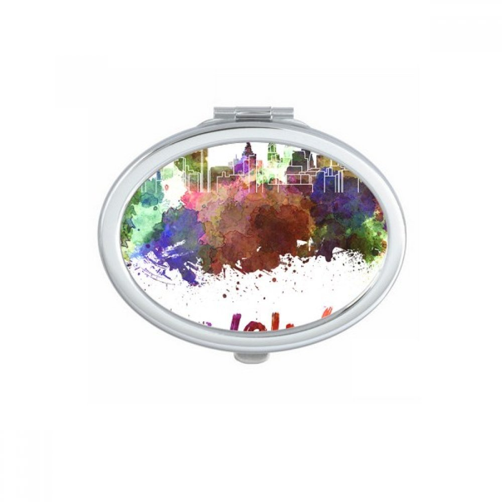 Philadelphia America Country City Watercolor Illustration Oval Compact Makeup Pocket Mirror Portable Cute Small Hand Mirrors Gift