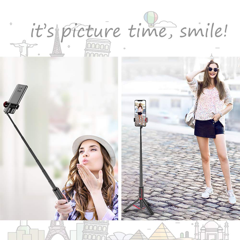 Selfie Stick Tripod Bluetooth Remote - Removable Wireless Remote Controller Portable Lightweight Aluminum Alloy Extendable Selfie Stick with Reinforced Tripod (Black)