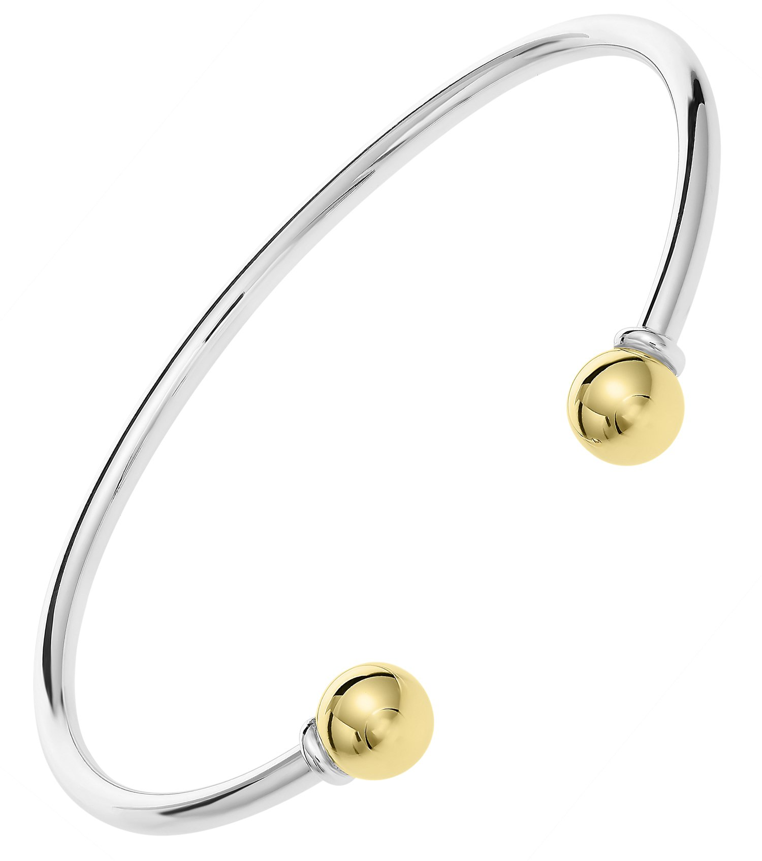 Unique royal jewelry Solid 925 Sterling Silver and 14k Gold 2-Ball Cuff Bracelet (Size 7) by Unique Royal Jewelry (Image #1)