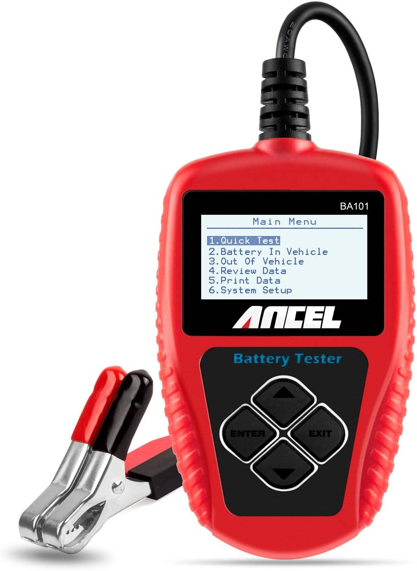 ANCEL BA101 Profesional Comprobador De Baterias Automotriz 12v 100-2000 CCA 220Ah Analizador de Baterias Digital Herramienta de Prueba de Células Defectuosas para Automóvil/Barco/Motocicleta y Más
