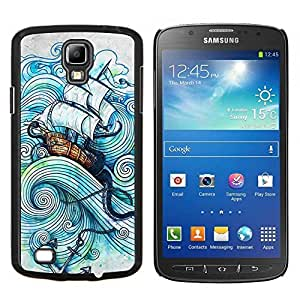 Vela Buque Sea Storm Océano Capitán- Metal de aluminio y de plástico duro Caja del teléfono - Negro - Samsung i9295 Galaxy S4 Active / i537 (NOT S4)