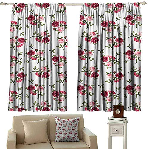 - curtain Roses Decorations Collection,Pattern With Rose Stems Flowers Classic English Garden Style Design Repeat Art,Red Pink Green 72