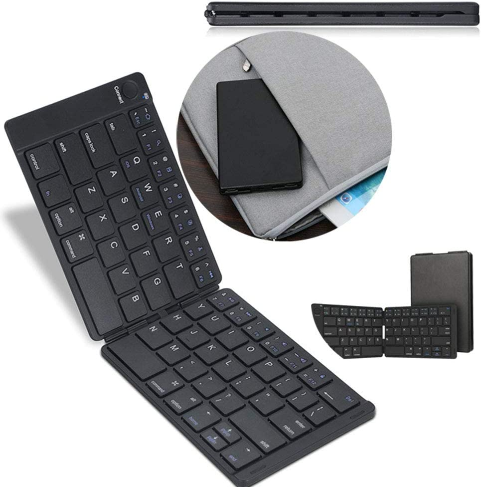 Chengl Leather Surface Chocolate Button Wireless Mini Bluetooth Folding Keyboard Laptop Tablet Mobile Phone Keyboard