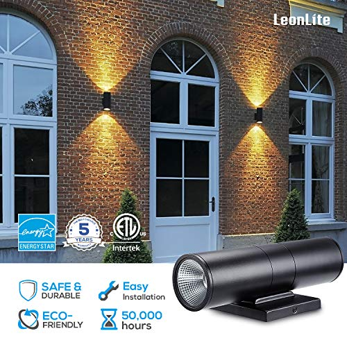 LEONLITE LED Cylinder UP Down Light, 20W (120W Equivalent), Super Bright LED Wall Mount Lamp, for Decoration on Door Way, Corridor, Garage, 5 Years Warranty, Pack of 4 by LEONLITE (Image #2)