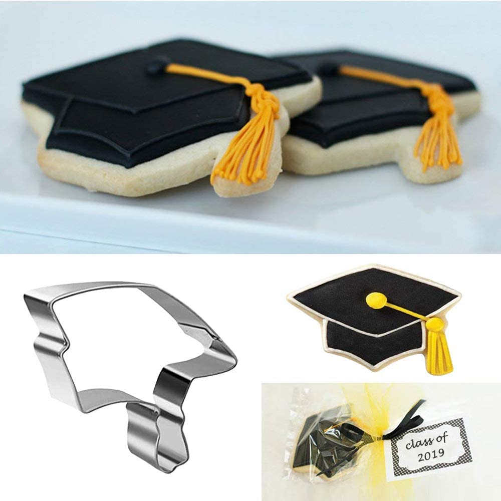 Graduation Theme Fondant Graduation Cookie Cutter 4 Piece Set Graduation Hat Baking Tools Diploma Stainless Steel Cookie Cutters Gown