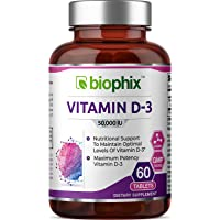 Vitamin D3 50000 IU 60 Tabs - High-Potency | Strong Bones | Immune Health | Support for K-2