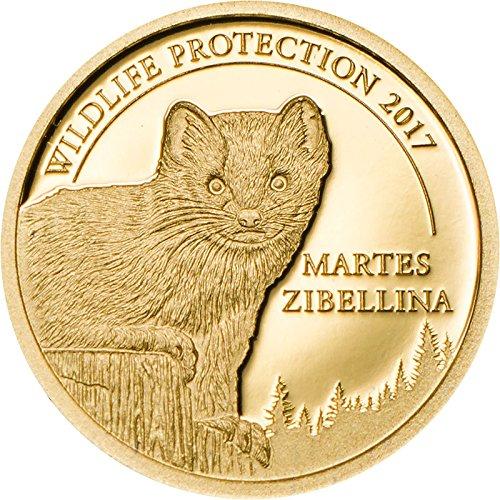Wildlife Protection SABLE 24K GOLD PROOF COIN - 1/2 Gram 11mm 1000 Togrog - 2017 Mongolia - Martes Zibellina