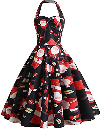 Clearance Christmas Dress,Fashion Xmas Santa Claus Elk Printed Winter Long Sleeve Party Dresses