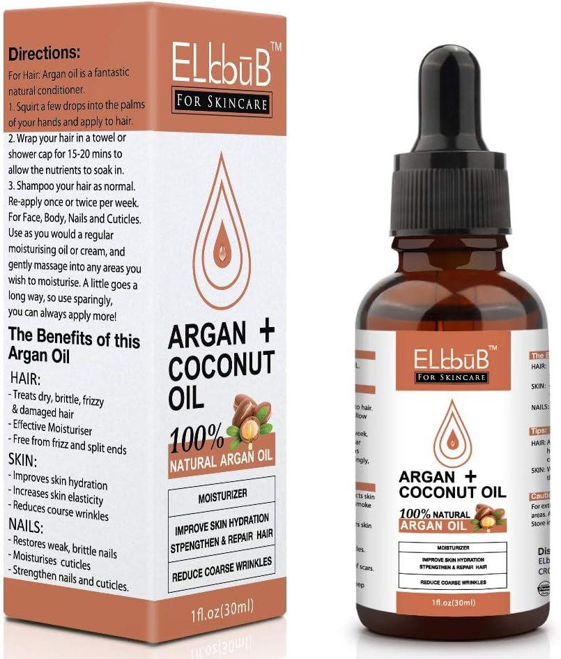 Aceite Argán+Aceite de Coco – Aceite Argán Natural de Árboles de Argán Marroquíes para Pureza Máxima Aceite Orgánico Puro - Cuidado Hidratante Antiarrugas para Piel, Pelo y Uñas
