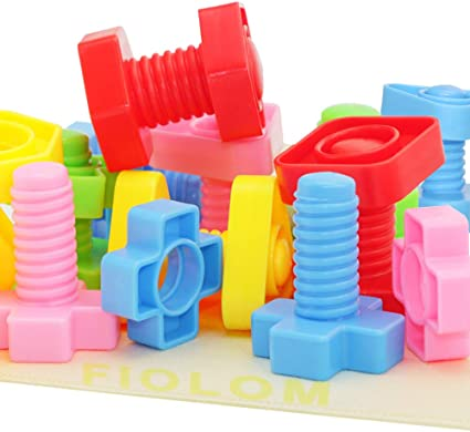 FIOLOM Jumbo Nuts and Bolts Toddler Toy Year olds 40 PCS Preschool and 3 Occupational Therapy Autism Stem Toy Enlighten Motor Skill Construction Toy Set Educational Learning Activities for Kids