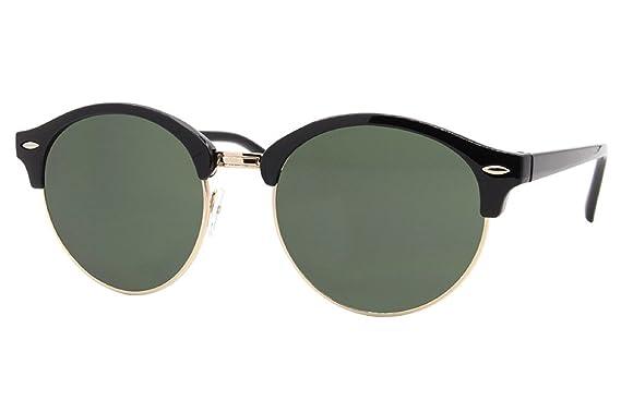 Cheapass Verspiegelte Sonnenbrille Rund-e Brille Schwarz Blau-Grün UV-400 Damen Herren jlchQok83