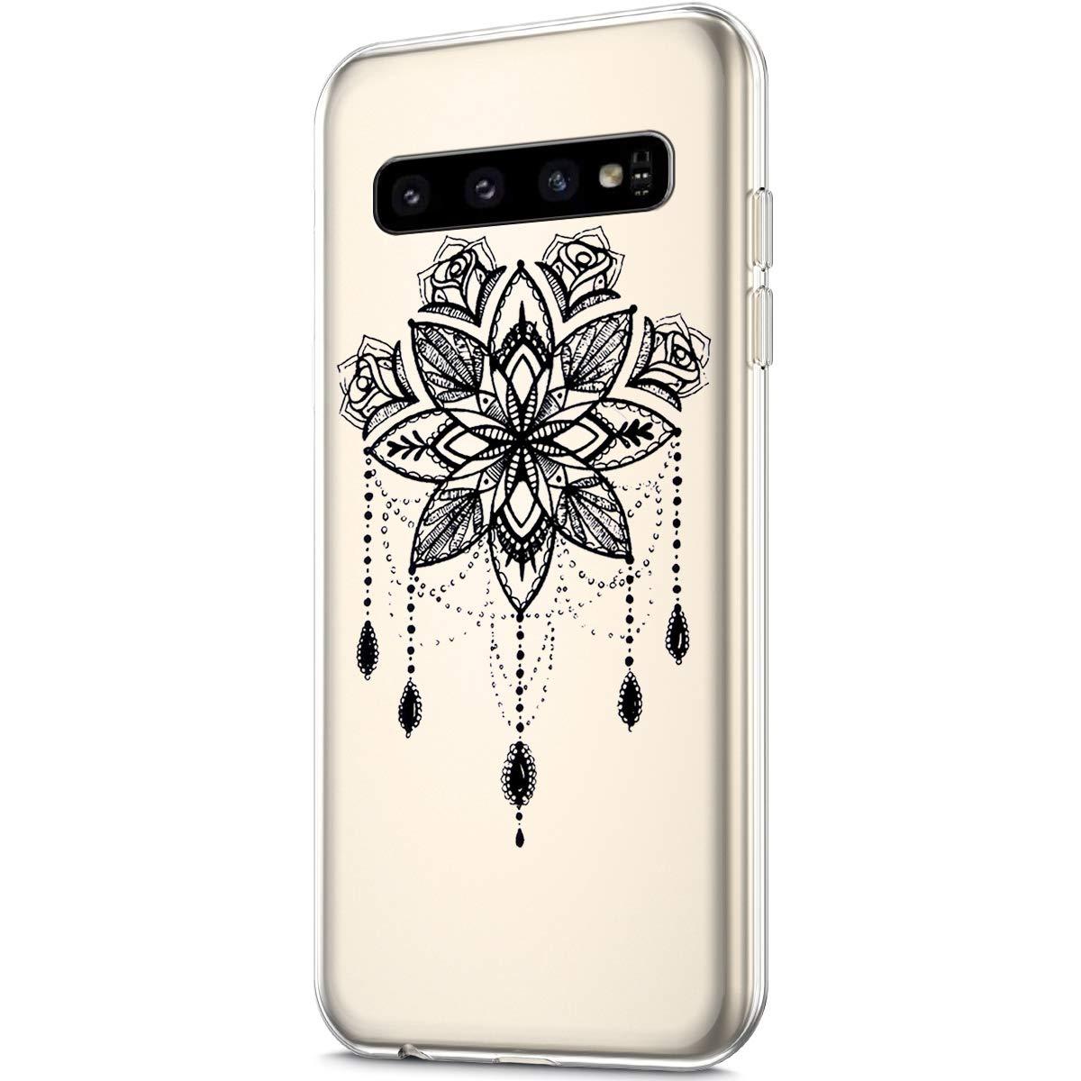 Herbests Compatible with Samsung Galaxy S10 Case Silicone Samsung Galaxy S10 Schwarz Mandala Blumen