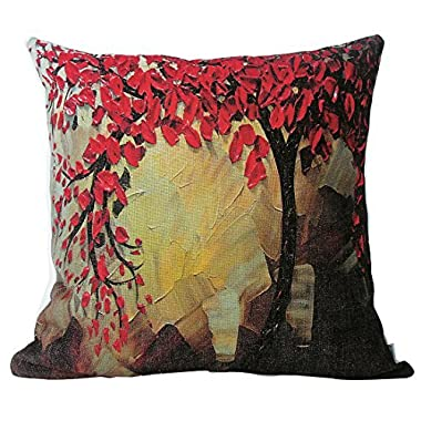 Jinbeile 18 X 18 Inches Oil Painting Cotton Linen Throw Pillow Cover Red Flower Black Tree Decorative Cushion Case Home Pillowcase