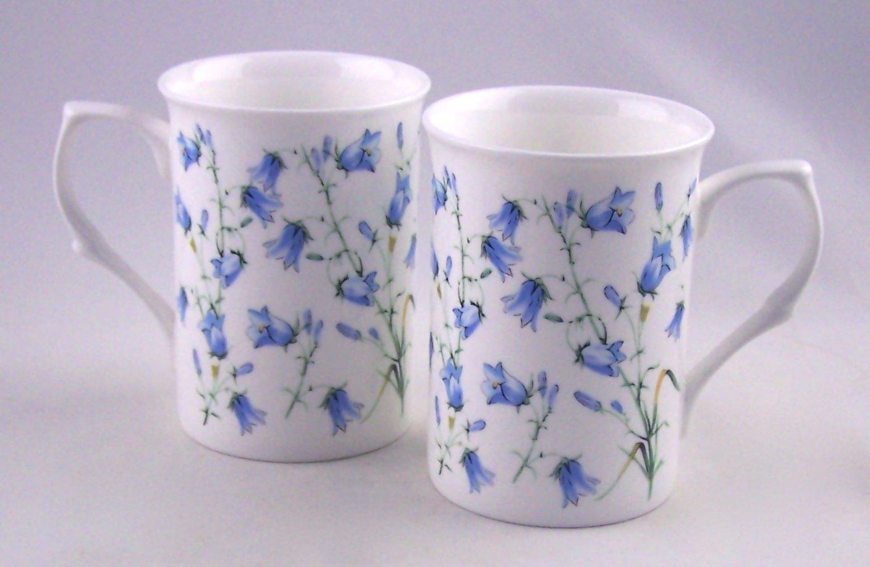 Fine English Bone China Mugs - Set of Two - Harebell (Bluebell) Chintz - England