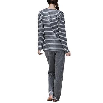 Dolamen Pijamas para mujer, Pijamas Mujer invierno, Mujer camisones Pijamas de parejas, Algodón suave y cálido Manga larga y pantalones largos: Amazon.es: ...