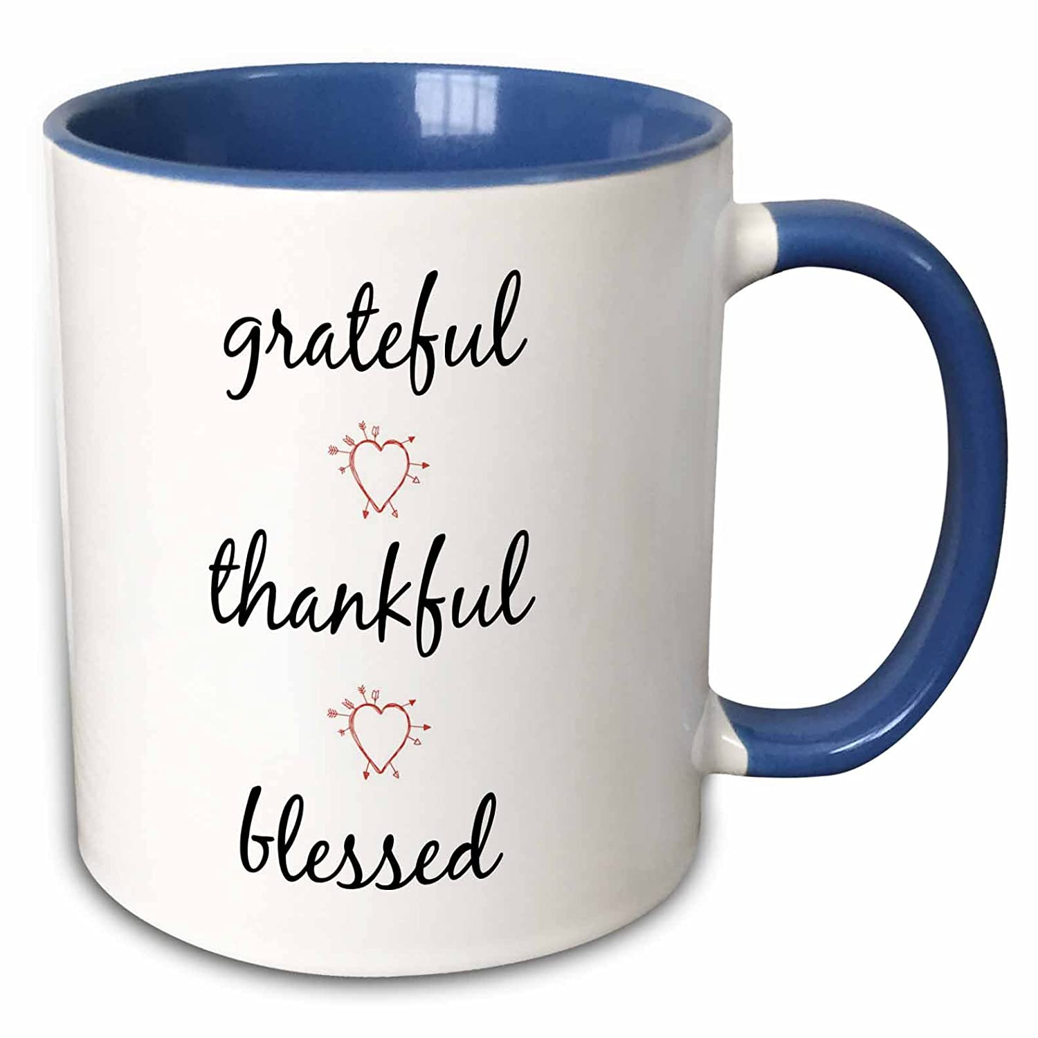 Letters With Picture Of Hearts Mug Thankful 3dRose 265914/_6 Grateful 11 oz Blessed