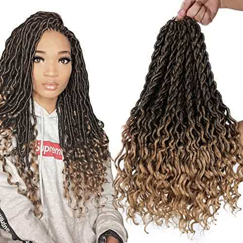 6Packs/Lot Wavy Faux Locs Braids 20Inch Ombre Faux Locs Crochet Hair with Curly Ends Goddess Crochet Synthetic Braiding Extensions(T1B-27#)
