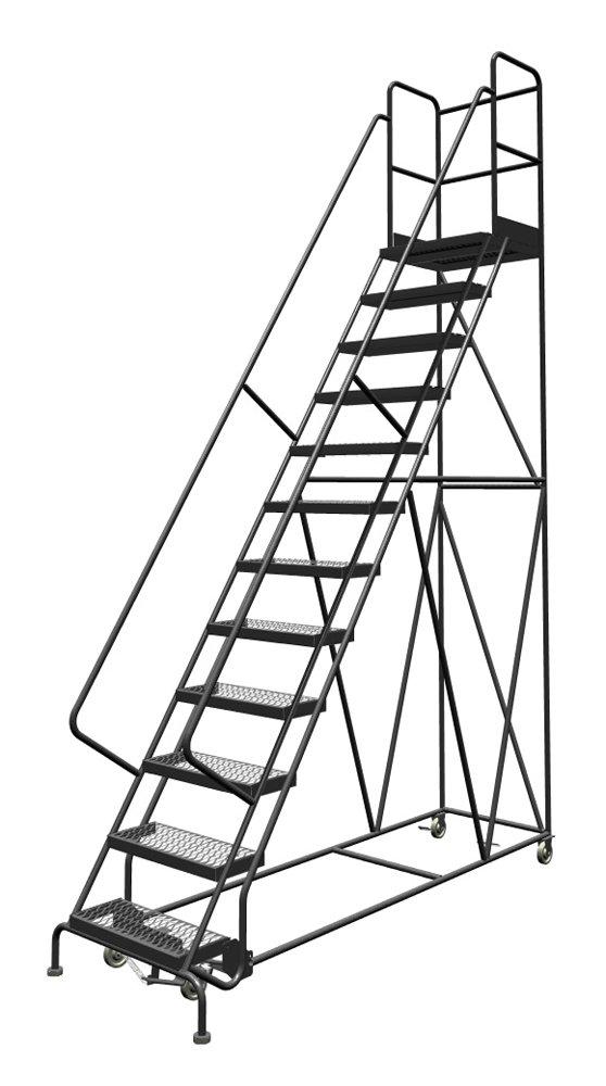 Tri-Arc KDSR112242-D2 12-Step 20'' Deep Top Steel Rolling Industrial & Warehouse Ladder with Handrails, 24'' Wide Grip Strut Tread