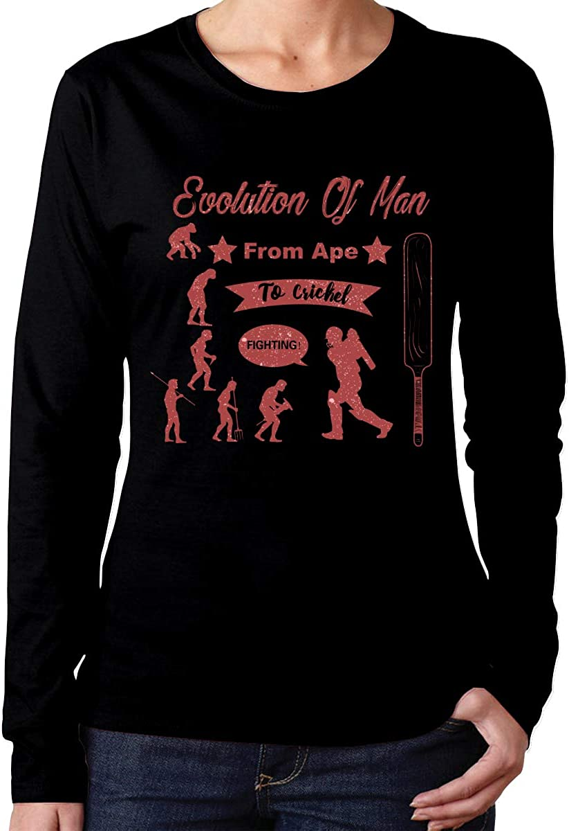 MiiyarHome Womens Long Sleeve T-Shirts Cricket History Information Tee Teen Girls Printed Long Sleeves Black