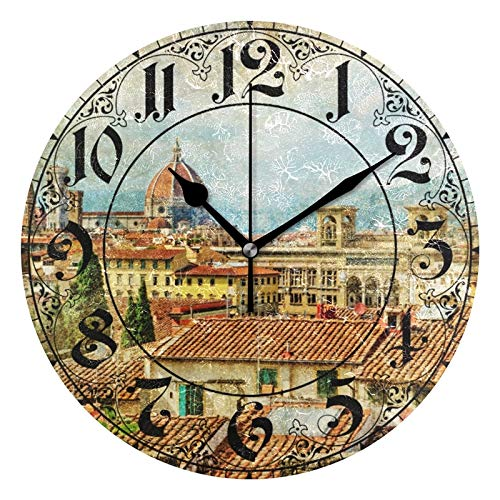 ALAZA Vintage Italian Florence Round Acrylic Wall Clock, Silent Non Ticking Oil Painting Home Office School Decorative Clock Art