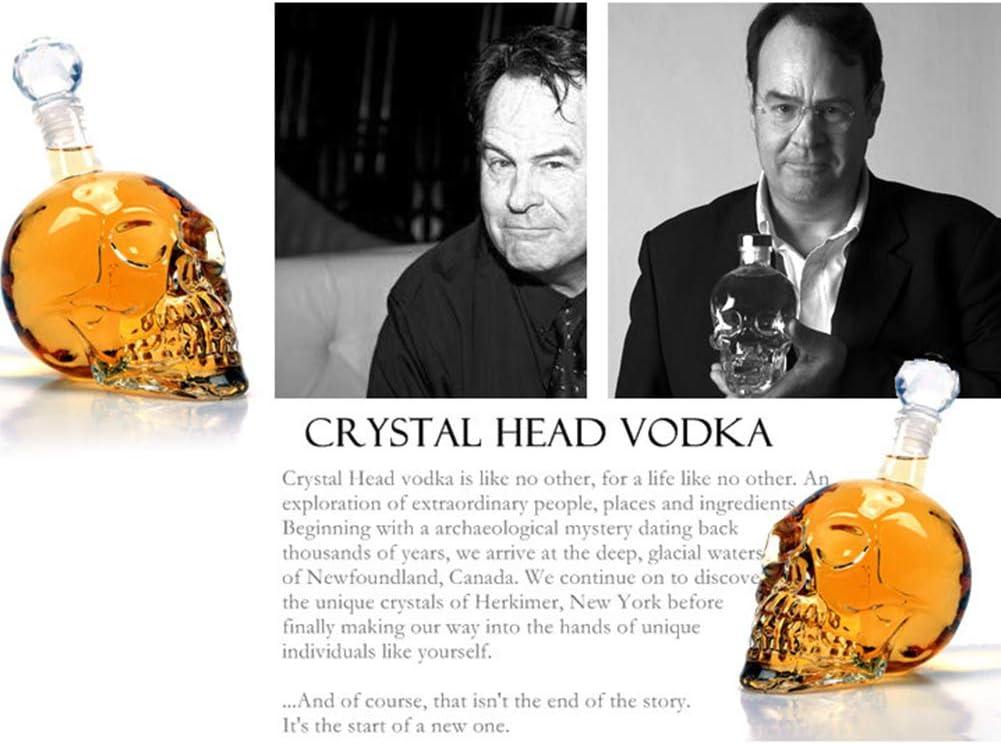 botella de cristal de whisky copas de vino 1.000 ml transparente dise/ño transparente Decantador de cristal de calavera para vino