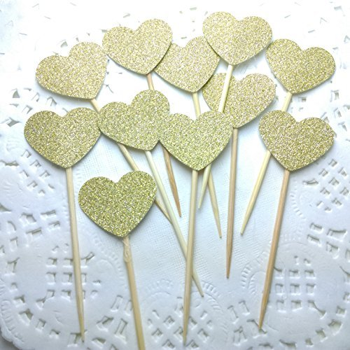 DOOXOO Handmade Glittery Gold Valentine/Love Heart Cupcake Toppers Set of 36 (Valentine Dots)