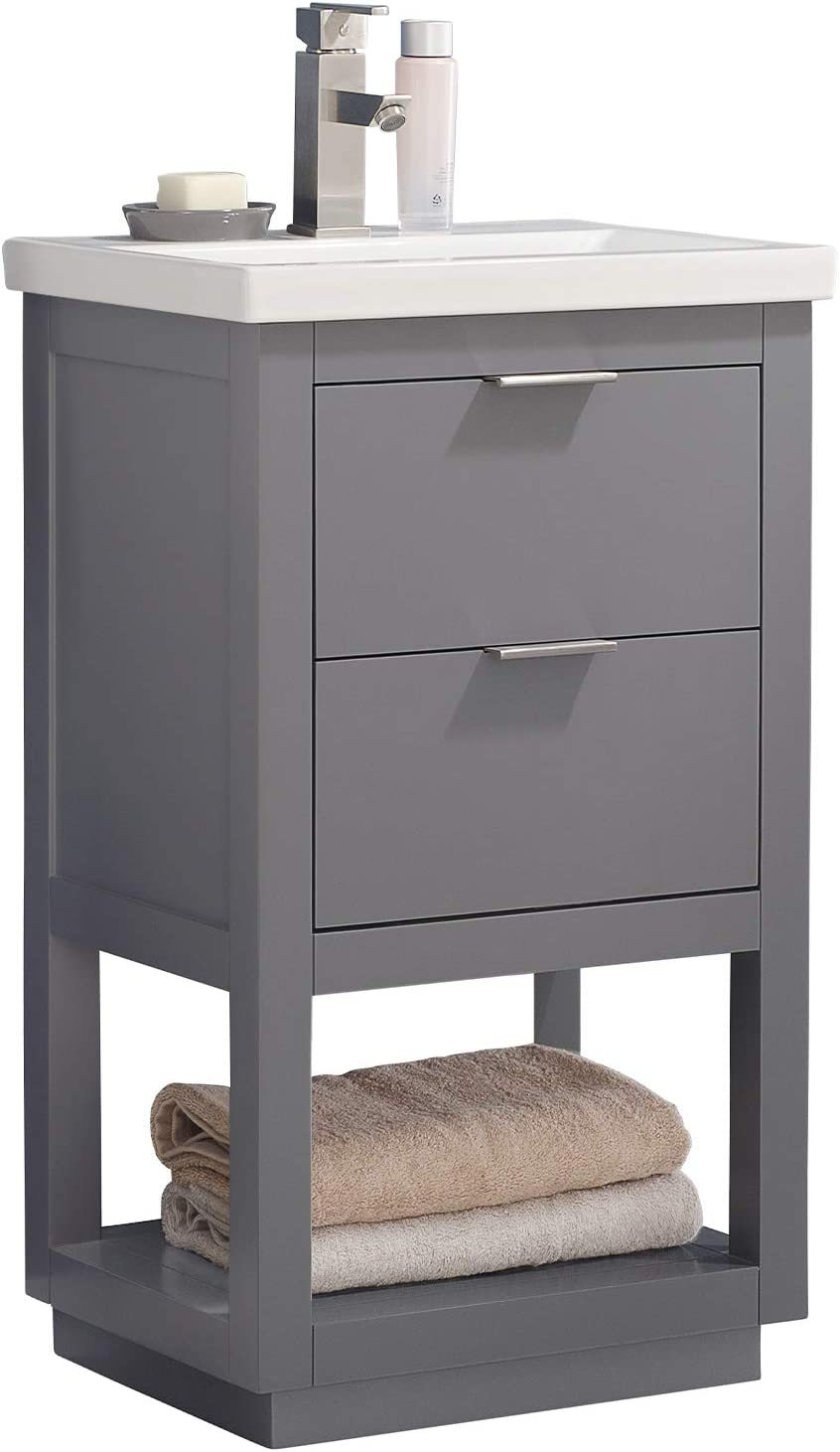 Luca Kitchen Bath Lc20ggp Sydney 20 Bathroom Vanity Set In French Gray With Integrated Porcelain Top Amazon Com
