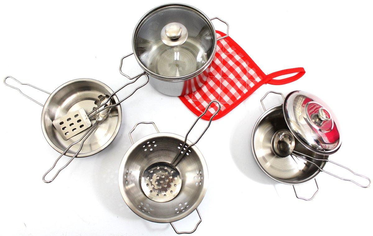 AMPERSAND SHOPS Kids Kitchen Cookware Metal Pots and Pans Playset (10-Piece Set)