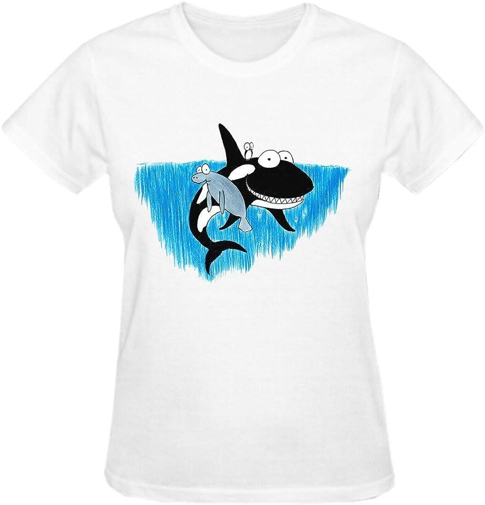 hpgmz Orca ballena Manatí y pingüino dibujos animados Womens Custom o cuello T Shirt Blanco: Amazon.es: Ropa y accesorios