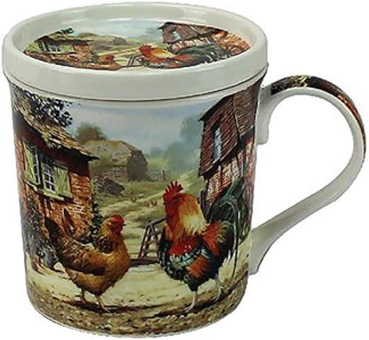 Leonardo gallo y gallina taza y juego de posavasos de lp92526: Amazon.es: Hogar