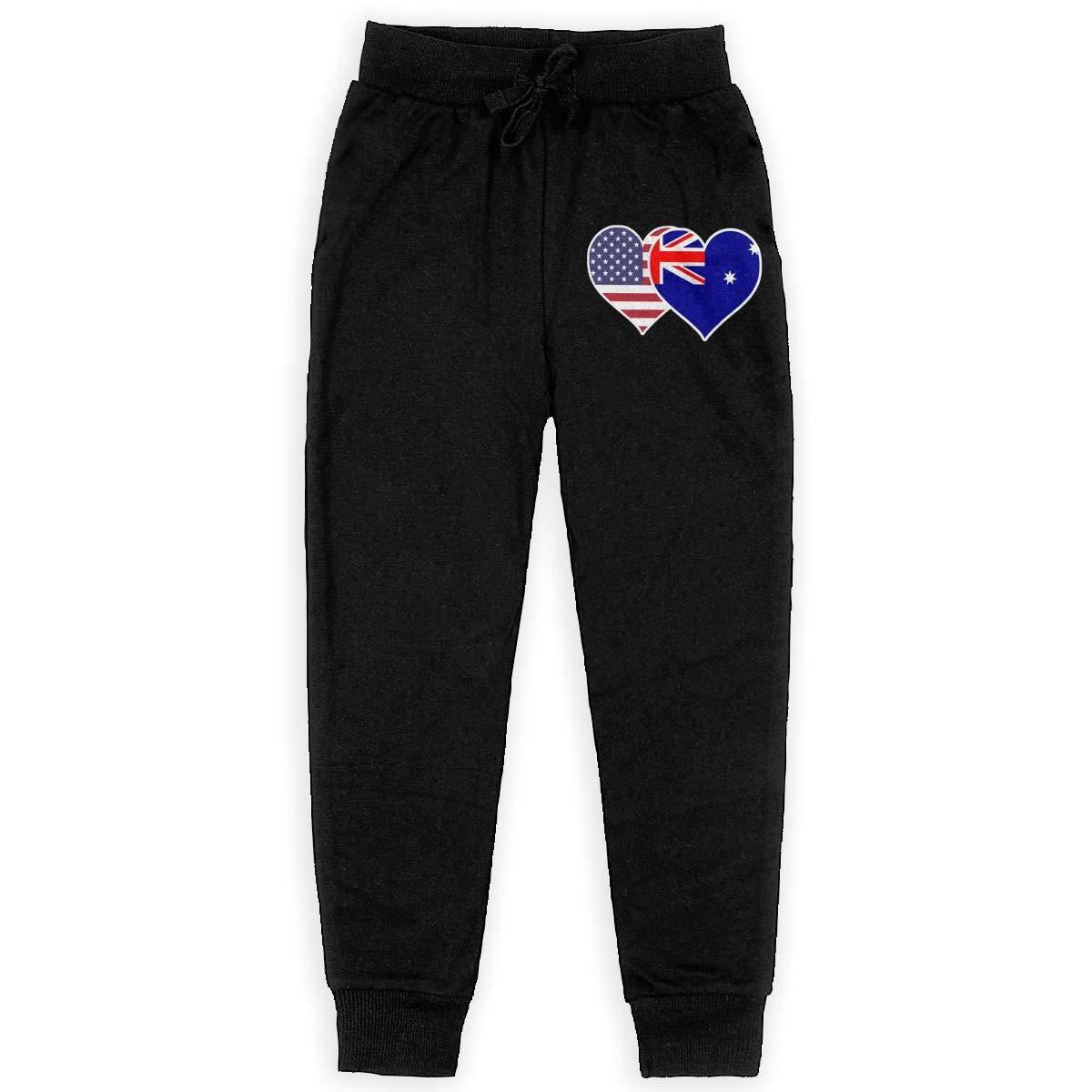 Teenager Sweat Pant for Teenager Girls WYZVK22 American Australian Flag Heart Soft//Cozy Sweatpants